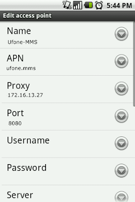Ufone MMS settings for Andriod™ SmartPhone