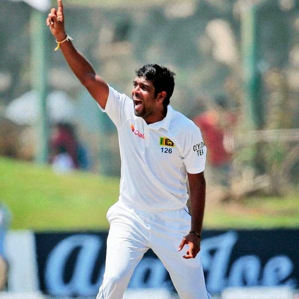 Sri Lanka's Dilruwan Perera appeals during the second day of the first test cricket match against South Africa in Galle, Sri Lanka, Thursday, July 17, 2014.