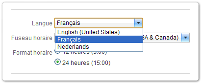 Set your language preference to Français