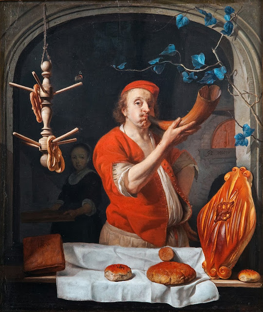 Gabriel Metsu - A Baker Blowing his Horn, c.1660-3