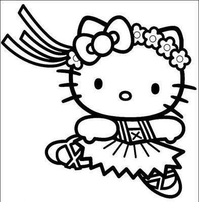Pinto Dibujos: Hello Kitty bailarina de ballet para colorear
