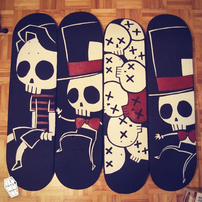 donate skateboard, skateboards for hope, skull skateboard, custom skateboard, custom painted deck, commissioned deck art, deck art, skateboard art, custom skateboard art