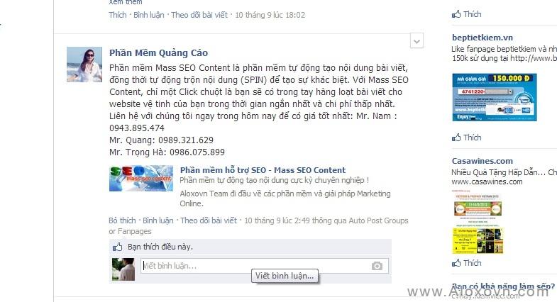 Kết quảng đăng tin quảng cáo trong group facebook