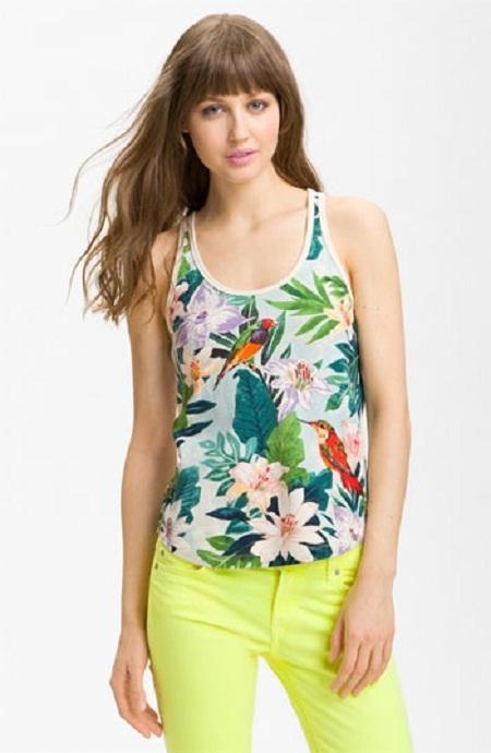 Inspiração estampa tropical - camiseta regata