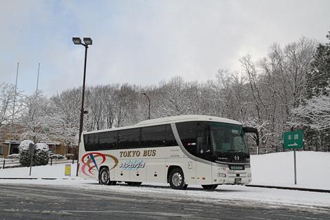 東京バス 日野セレガハイブリッド 544 雪景色