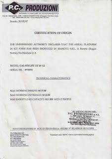 Certification of origin
