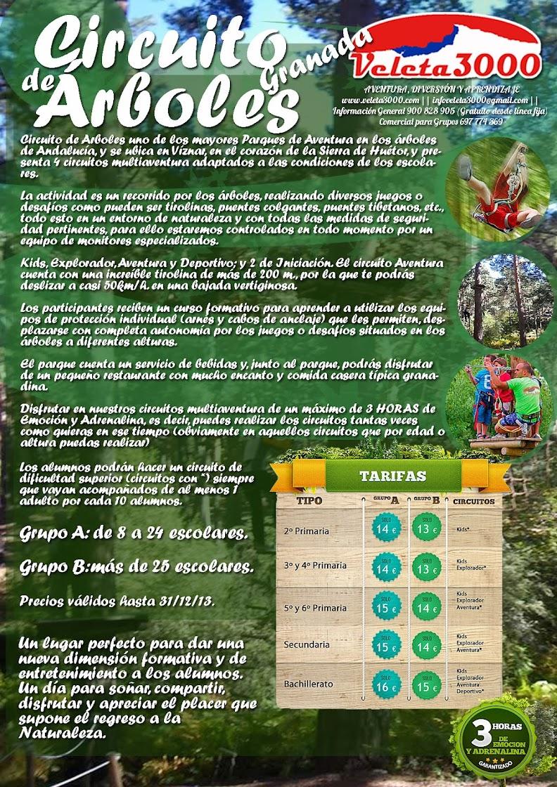 Excursión 1 día de Circuito de Árboles para grupos escolares en Granada