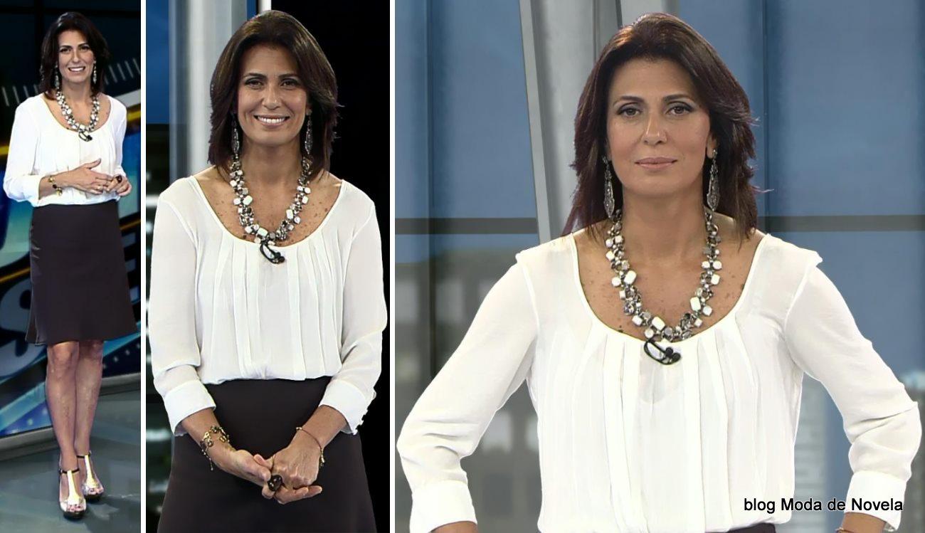 moda do programa Domingo Espetacular - look da Janine Borba dia 8 de junho