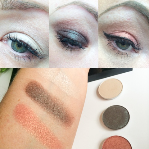 mac shroom, club and expensive pink eyeshadow swatches and review.