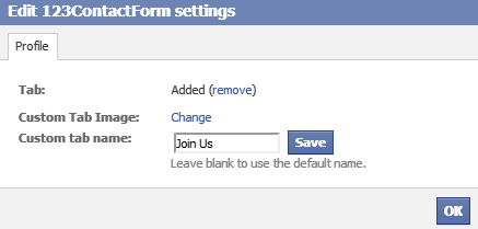 How to change the name tab in Facebook for the 123ContactForm app