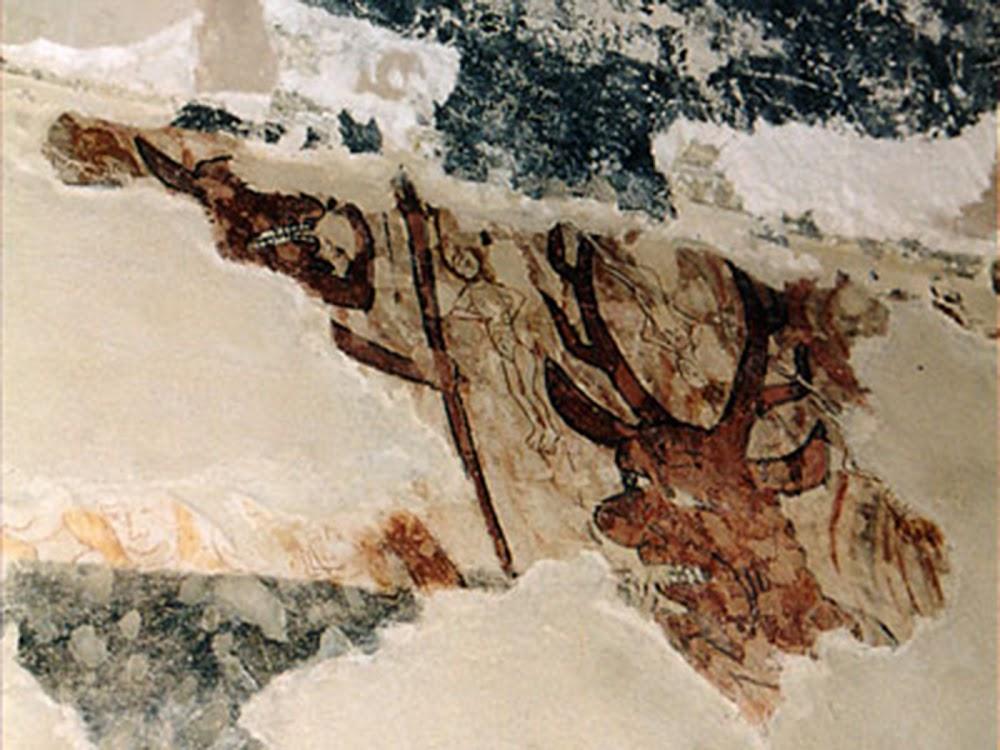 Dos pecadores desnudos cuelgan de las astas de un ciervo antropomórfico, sus pies atados y sus cuerpos envueltos en llamas: mural (¿finales siglo XIII/principios XIV?) en la antigua iglesia parroquial de San Valentín en las Cabañas del Panadés