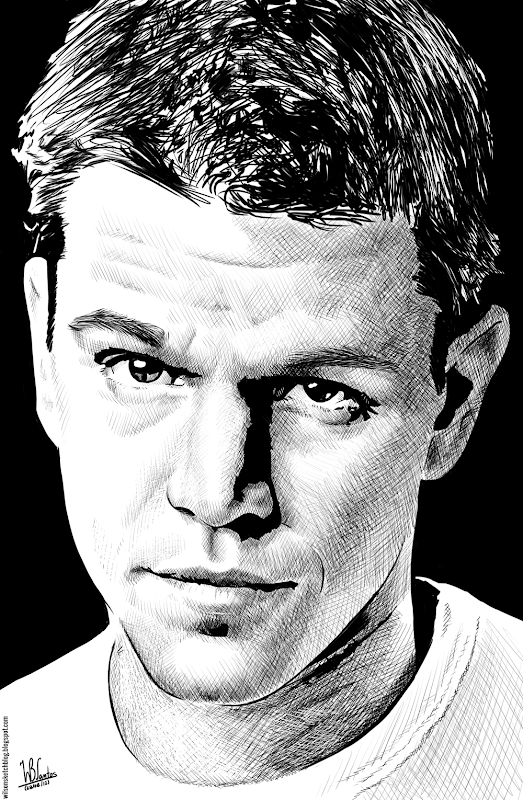 Ink drawing of Matt Damon, using Krita 2.4.