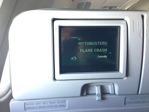 photo of a in-flight movie...Mythbusters Plane Crash