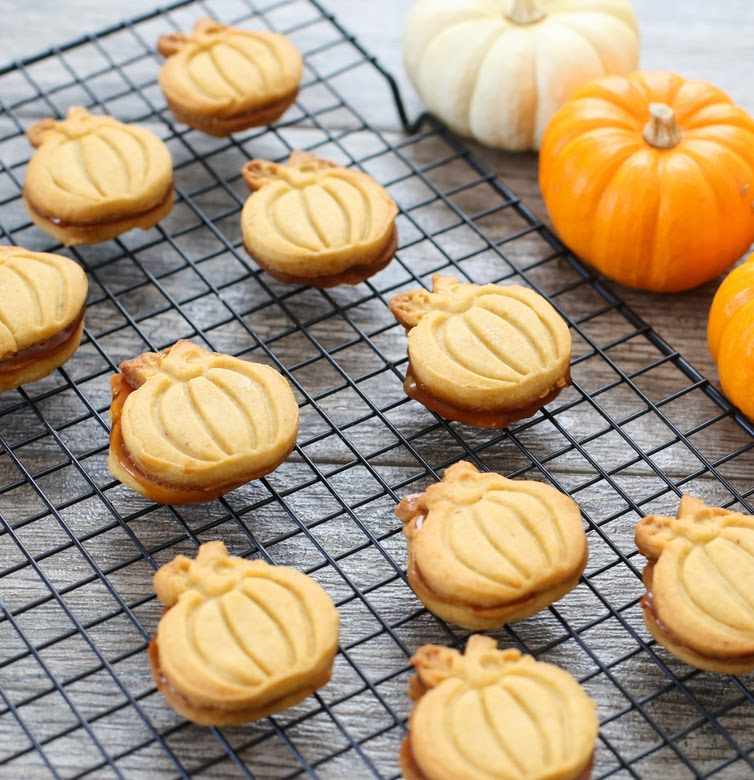 photo of Pumpkin Spice Shortbread Cookies on a baking rack