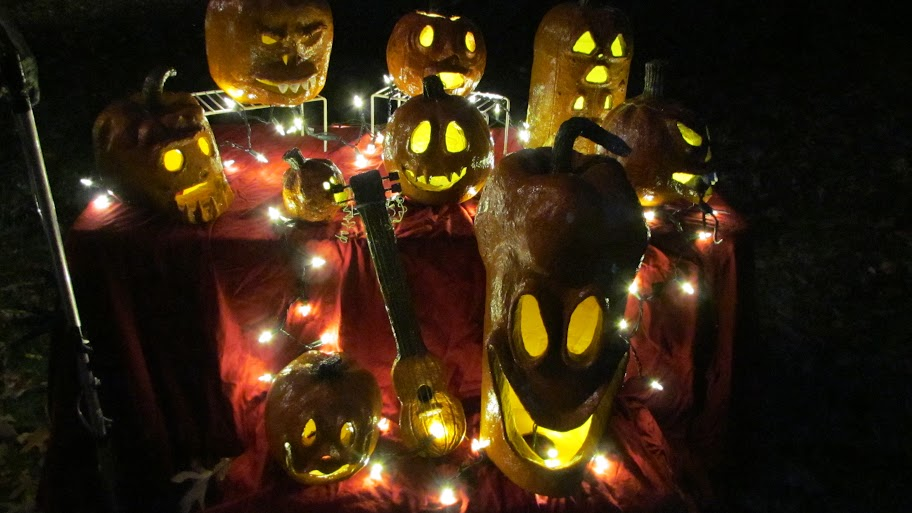 paper mache pumpkins at night