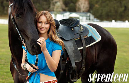 Jennifer Lawrence and a horse