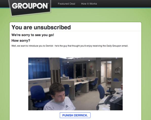 Groupon Email Hủy đăng ký