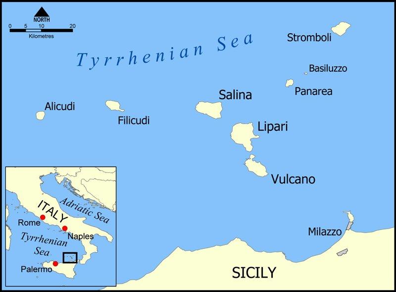 Карта Липарских островов