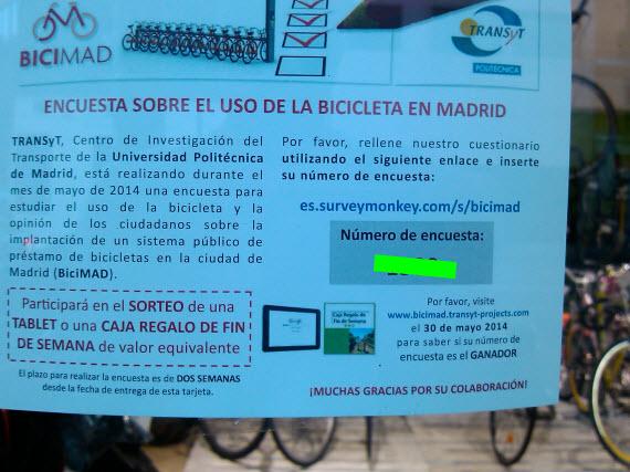Encuesta sobre el sistema público de bicicletas BiciMAD en la Politécnica