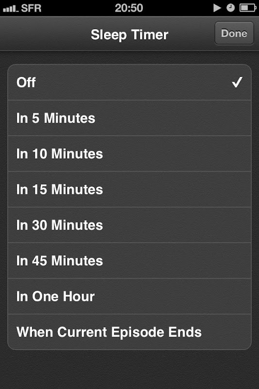 iOS Podcasts Sleep Timer options