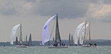 J/109 sailboats- sailing on the Solent, Cowes, England