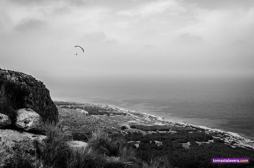 Nikon D5100, 18-55 mm, Paisajes, Blanco y negro, Cabo de Santa Pola, Deportes, Parapente, Mar,