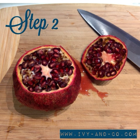 how to cut open a pomegranate step by step