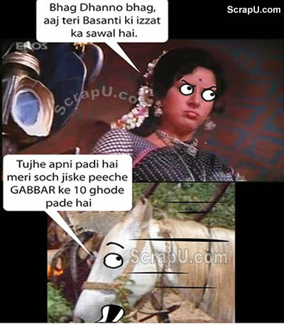 Shole ki basanti trolled by Dhanno - Funny-Bollywood-Pics pictures