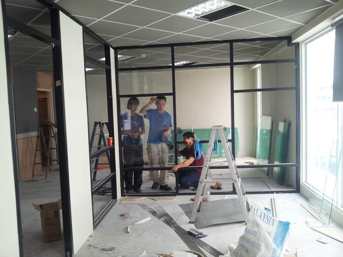 installing glass partition
