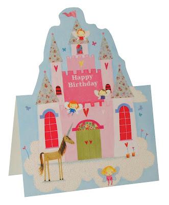 die cut birthday cards - fairy princess castle birthday card