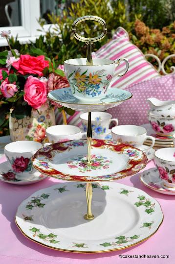 Mismatched vintage teacup topped 3 tier cake stand