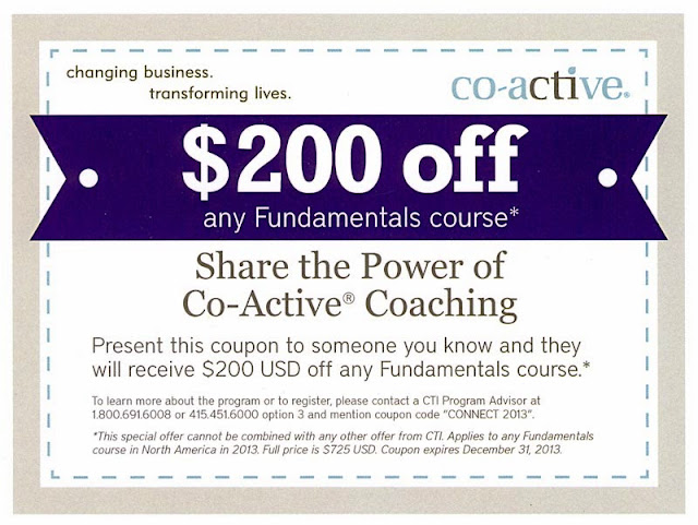 Discount Coupon Code for Co-Active Coaching Fundamentals from http://www.gaalcreative.com