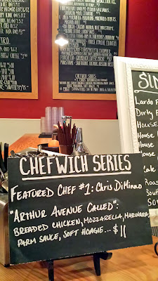 The next Chefwich, featuring chef Chris DiMinno, formerly of Clyde Common. This sandwich has apparently been dubbed Arthur Avenue Called and is comprised of breaded chicken, marinara, mozzarella, parm sauce, soft hoagie... essentially yes a chicken parmesan sandwich!