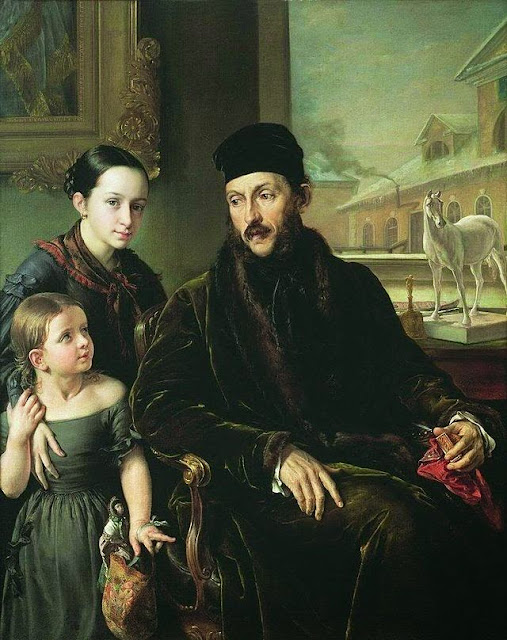Vasily Tropinin - Portrait of D. P. Voyeikov with His Daughter and the Governess Miss Sorock