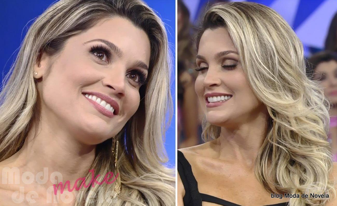 moda do programa Domingão do Faustão - maquiagem da Flávia Alessandra dia 27 de julho