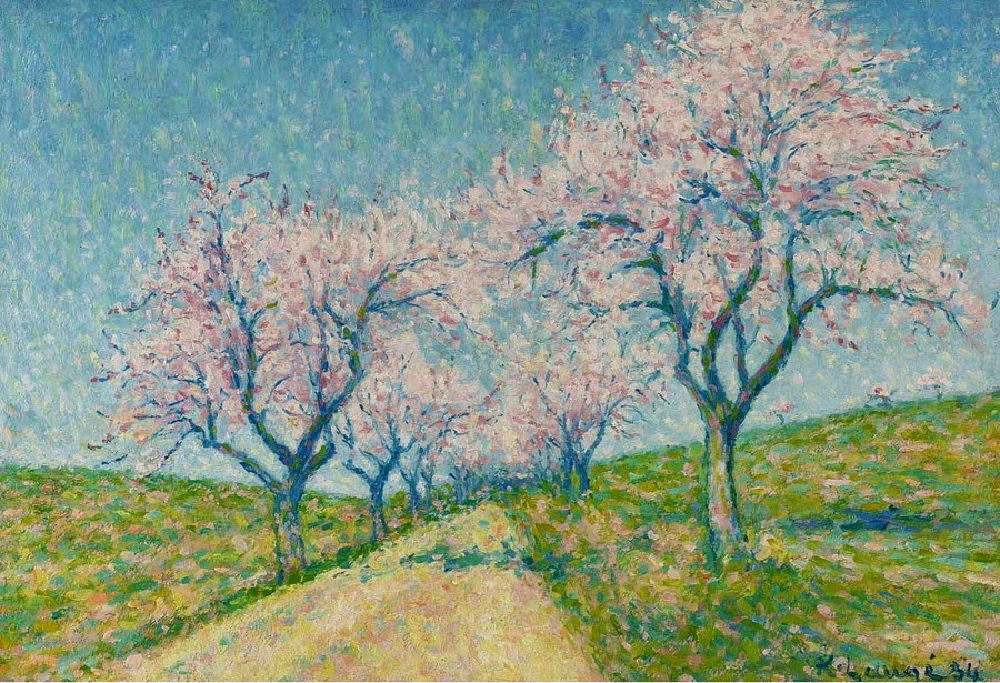 Achille Laugé - The Road Boarding by Almond-Trees in Bloom, 1934