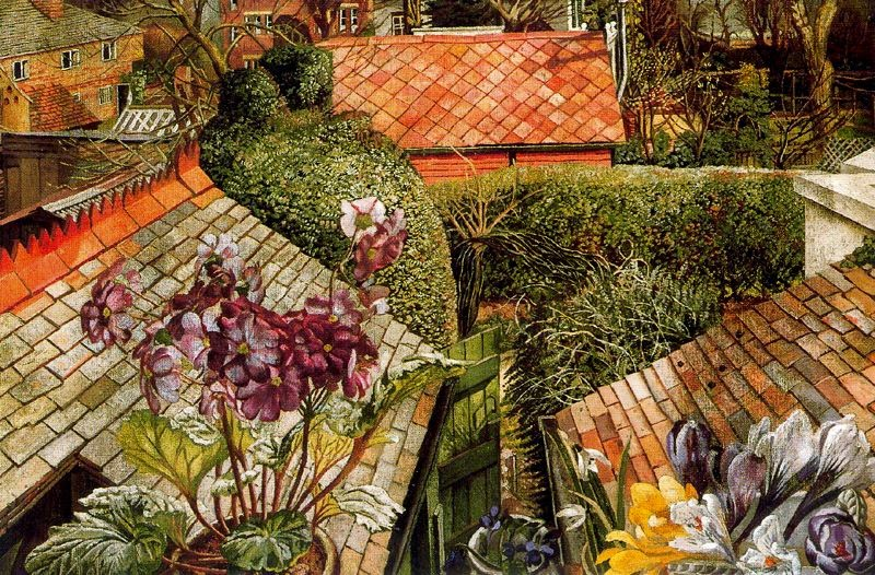Stanley Spencer - Flowers in a Window (Cookham), 1938