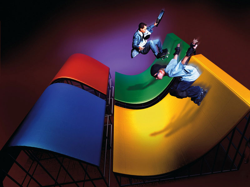 Microsoft window xp logo symbol boys skating on it | 50 Stunning and Beautiful Digital ArtDesktop Wallpapers | Big Picture | totallycoolpix | Totally Cool Pix