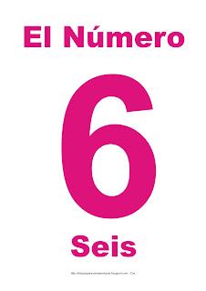 Lámina para imprimir el número seis en color magenta