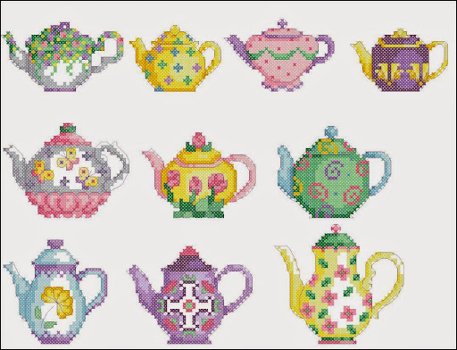 Teapotscross stitch pattern