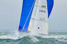 J/80s sailing in a near gale offwind