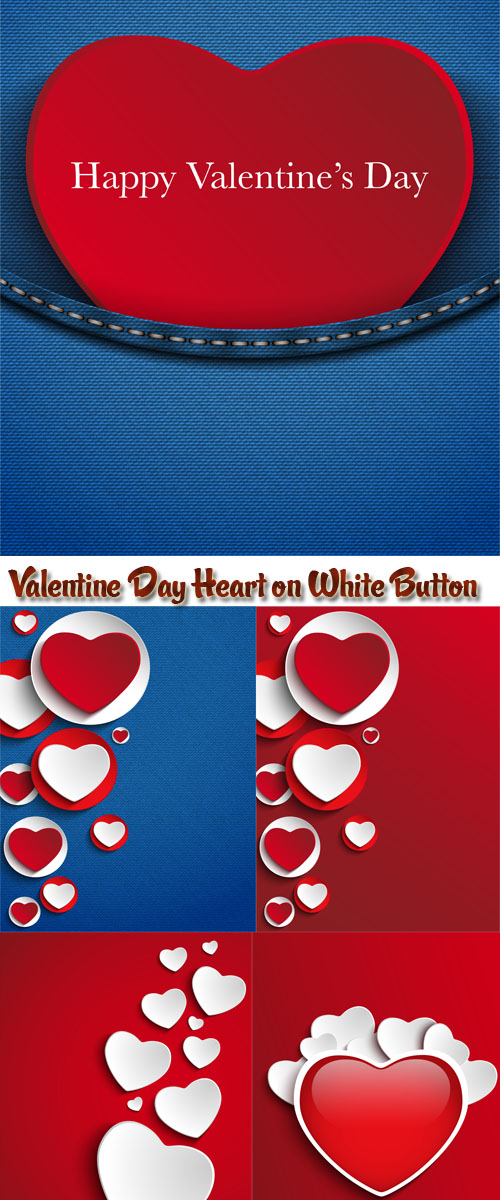 Stock: Valentine Day Heart on White Button