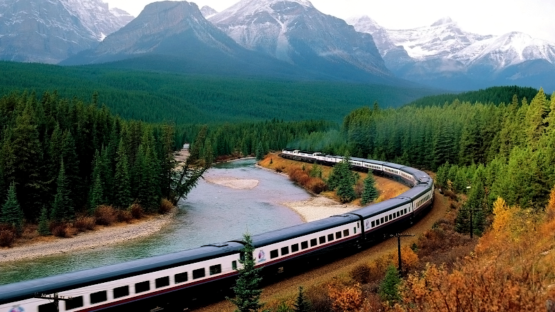mountain train wallpaper