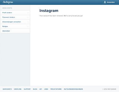 Instagram-Konto gelöscht