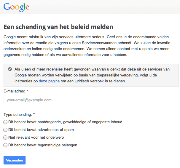 Schending van het Google beleid melden