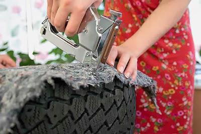 Forro para pneus reciclados