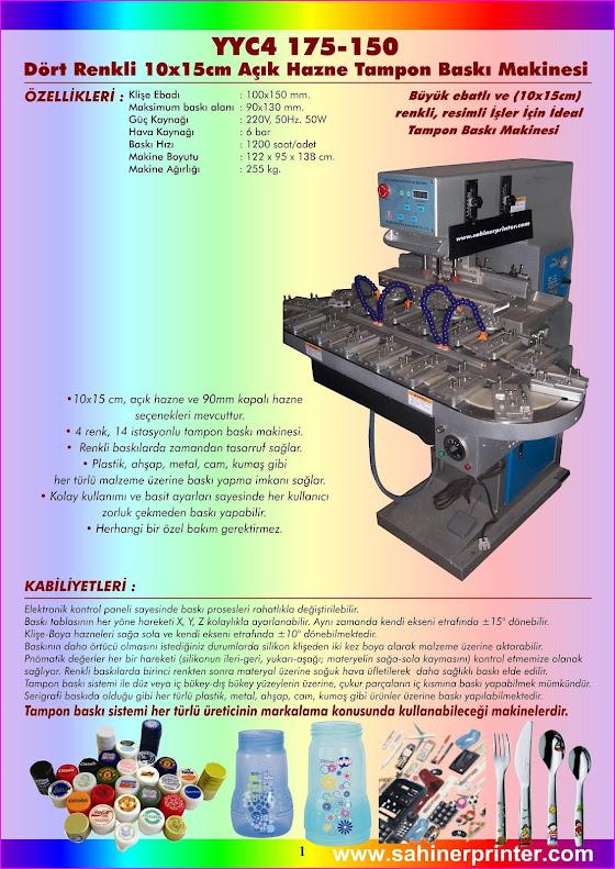 yyc4 175-150 dört renkli açık hazne tampon baskı makinesi