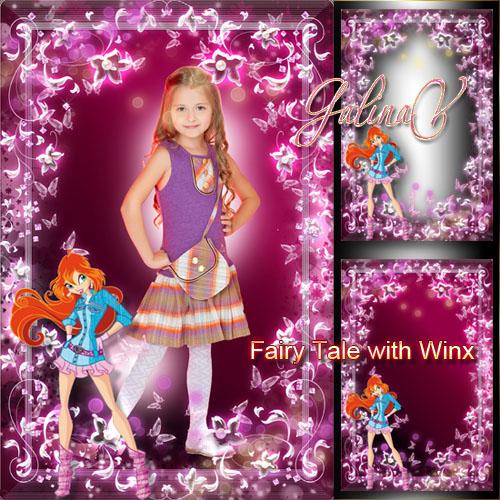 Цветочная рамка для девочек - Сказка с волшебницей Винкс