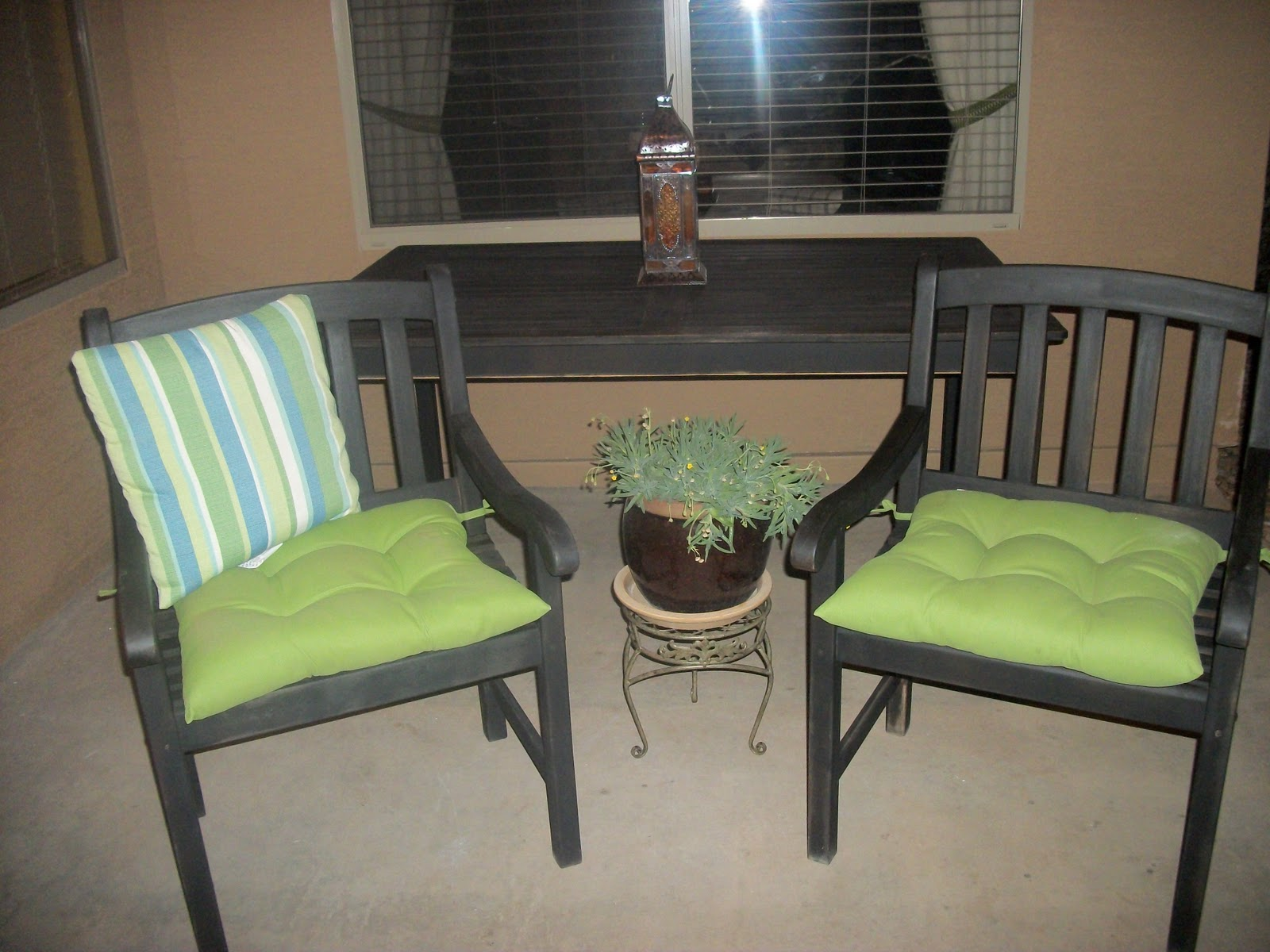 Designer Dropout Patio Table W 2 Chairs And Cushions SOLD