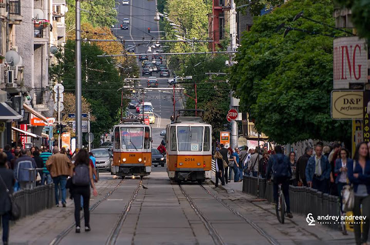 Graf Ignatiev Street and the common trams in Sofia, Bulgaria